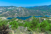 Kouris dam with reservoir, the largest of a network of 107 dams, 15 km from Limassol, Cyprus