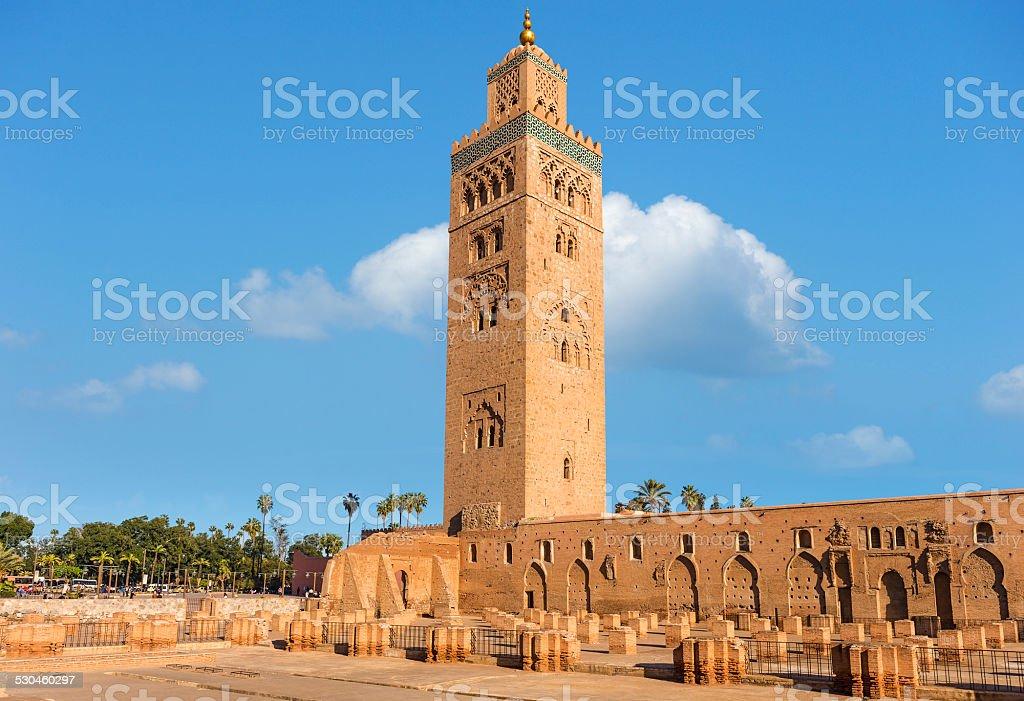 Koutoubia mosque in marrakech morocco. stock photo
