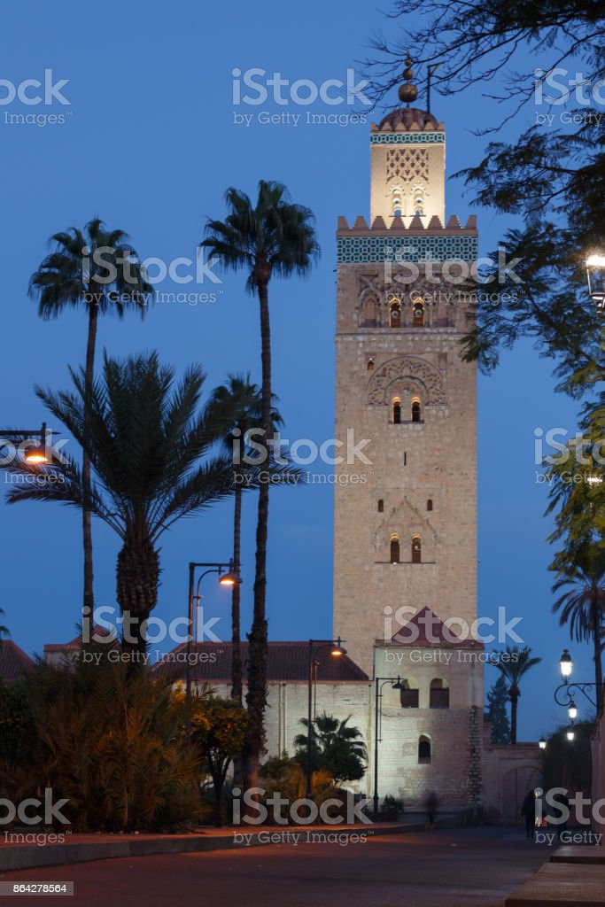 Koutoubia mosque in Marrakesh during blue hour royalty-free stock photo
