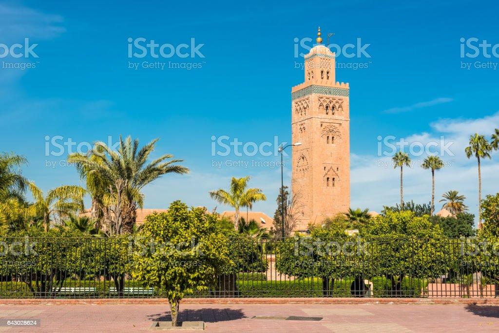 Koutoubia Mosque in Marrakesh, Morocco stock photo