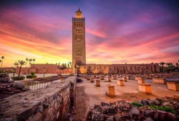 Koutoubia mosque in the morning, Marrakesh, Morocco stock photo