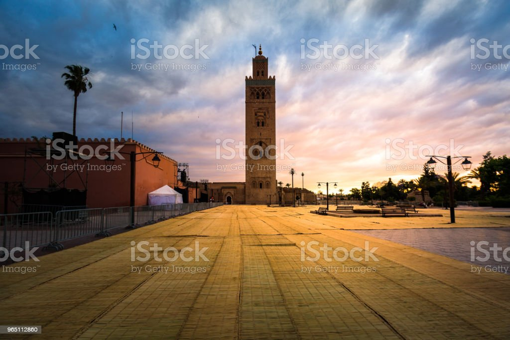 Koutoubia mosque in the sunset zbiór zdjęć royalty-free