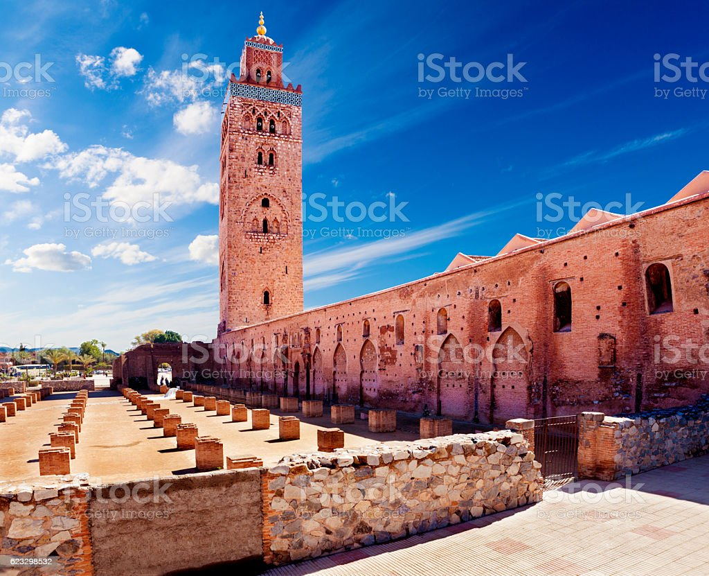 Koutoubia mosque, Marrakesh, Morocco. stock photo
