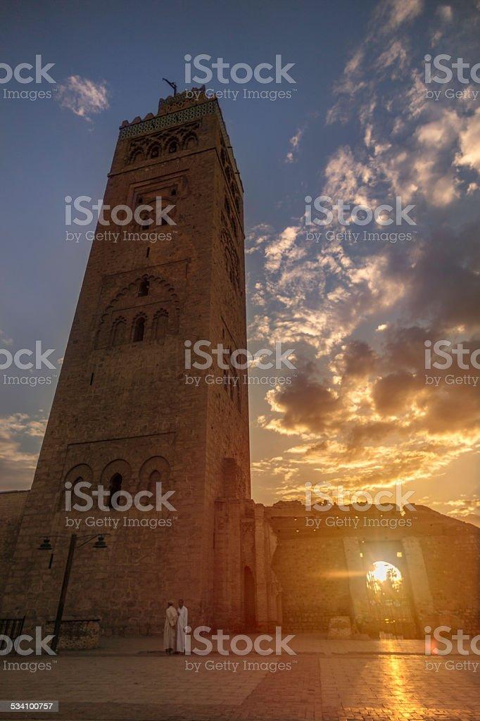 Koutoubia Mosque minaret at sunset stock photo