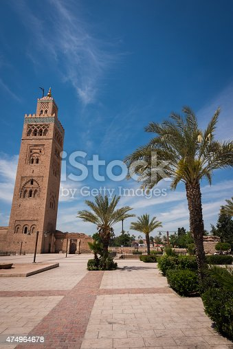 Koutoubia Mosque tower in Marrakech, Morocco in day time