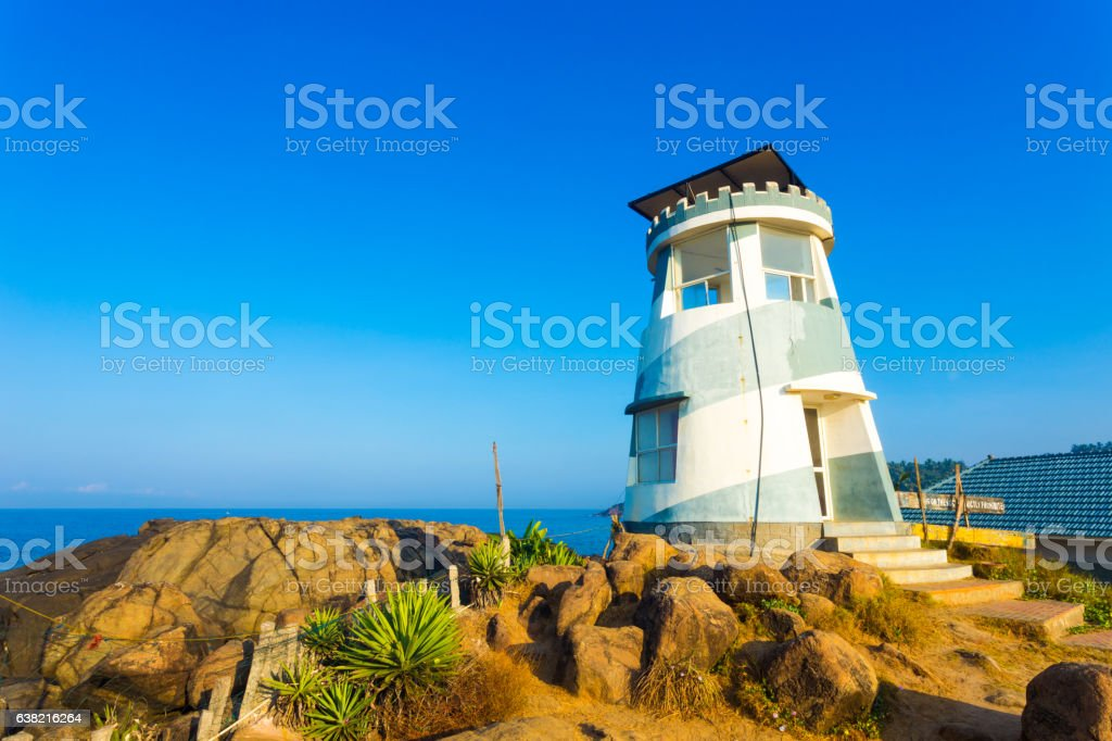 Kovalam India Life Guard Aid Post Sunny H stock photo