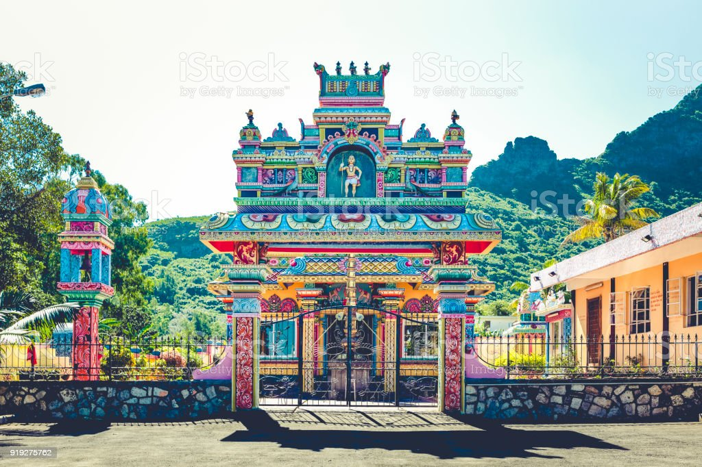 kovil hindu temple on mauritius island, africa stock photo