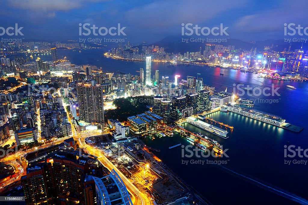 Kowloon at night stock photo