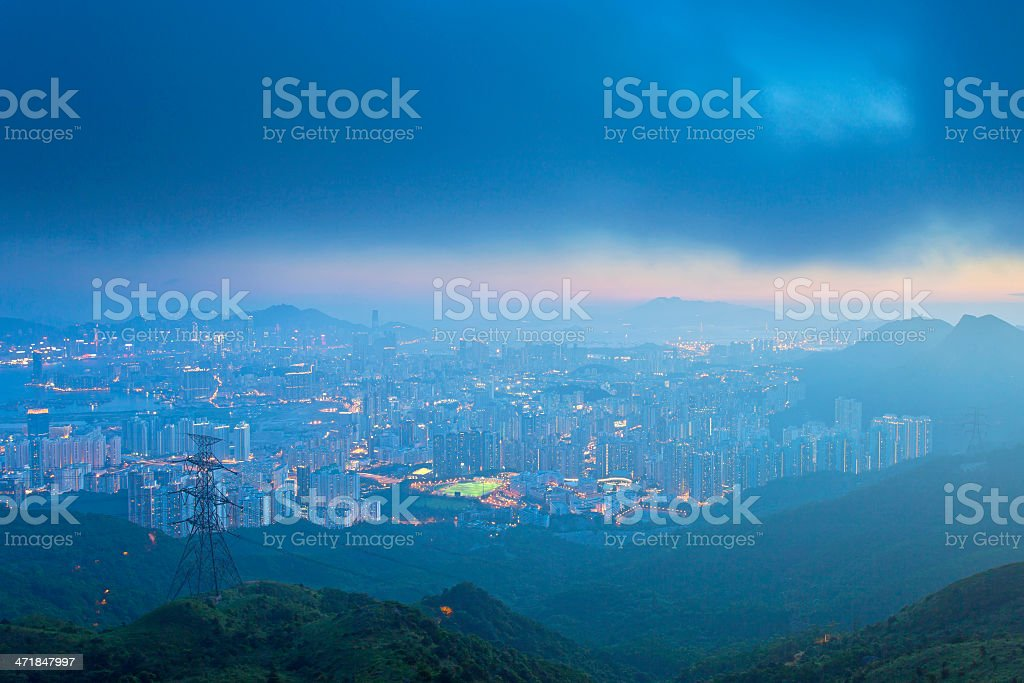 Kowloon downtown in Hong Kong under storm royalty-free stock photo