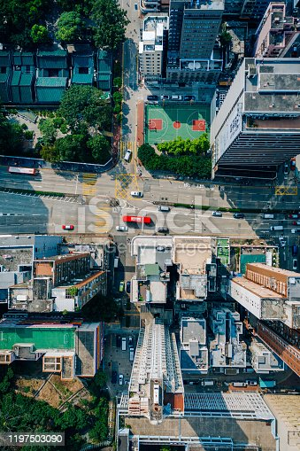 Kowloon from an aerial perspective, Hongkong, China