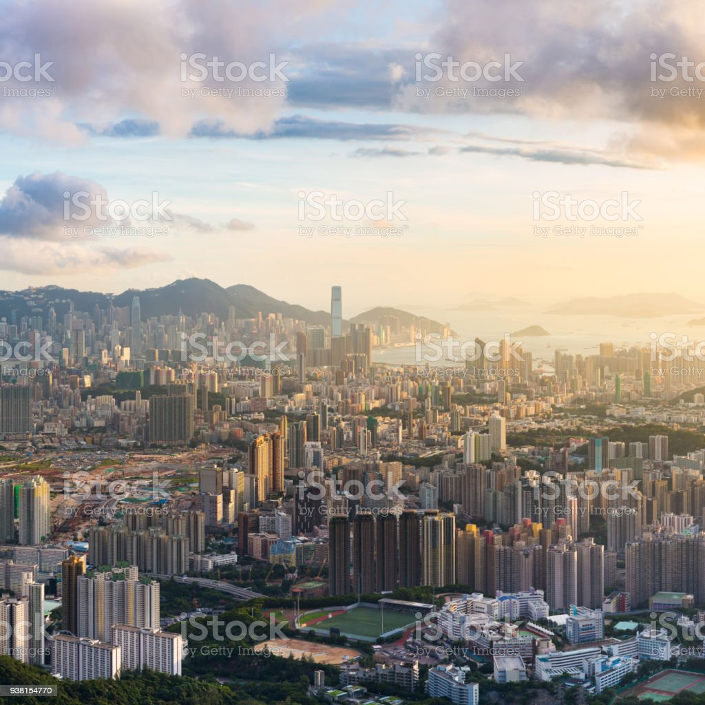 Kowloon View point sunset stock photo