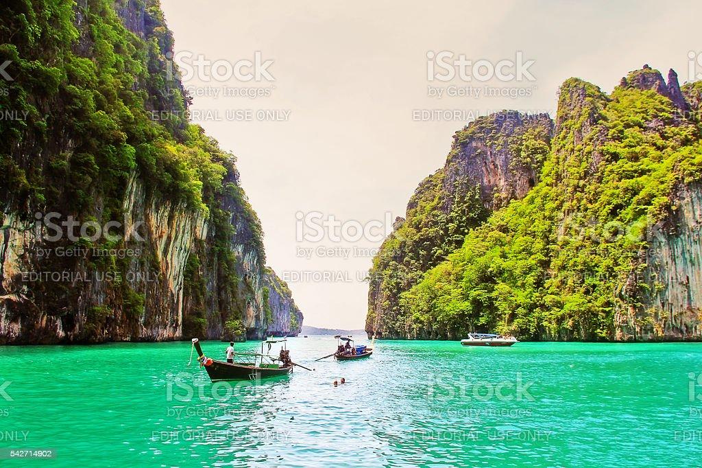 Krabi, Thailand - May 28, 2013 - Maya bay, Andaman sea stock photo