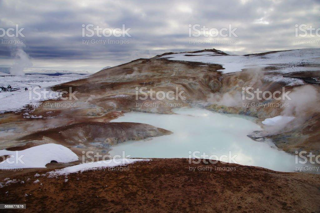 Krafla volcano, white iceland stock photo