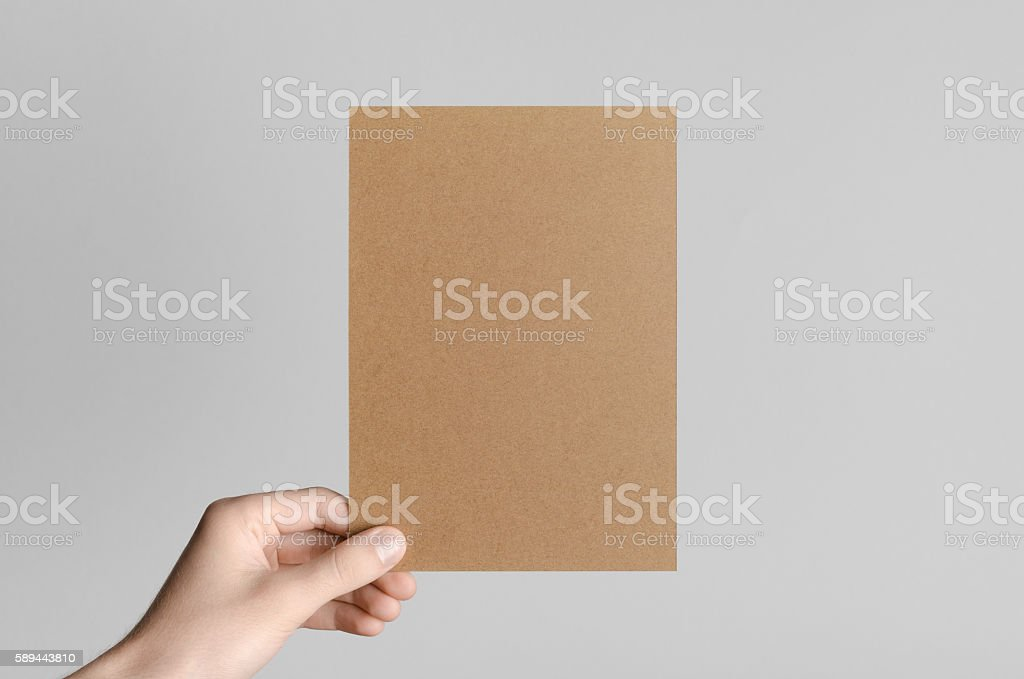 Kraft A5 Flyer / Invitation Mock-Up stock photo