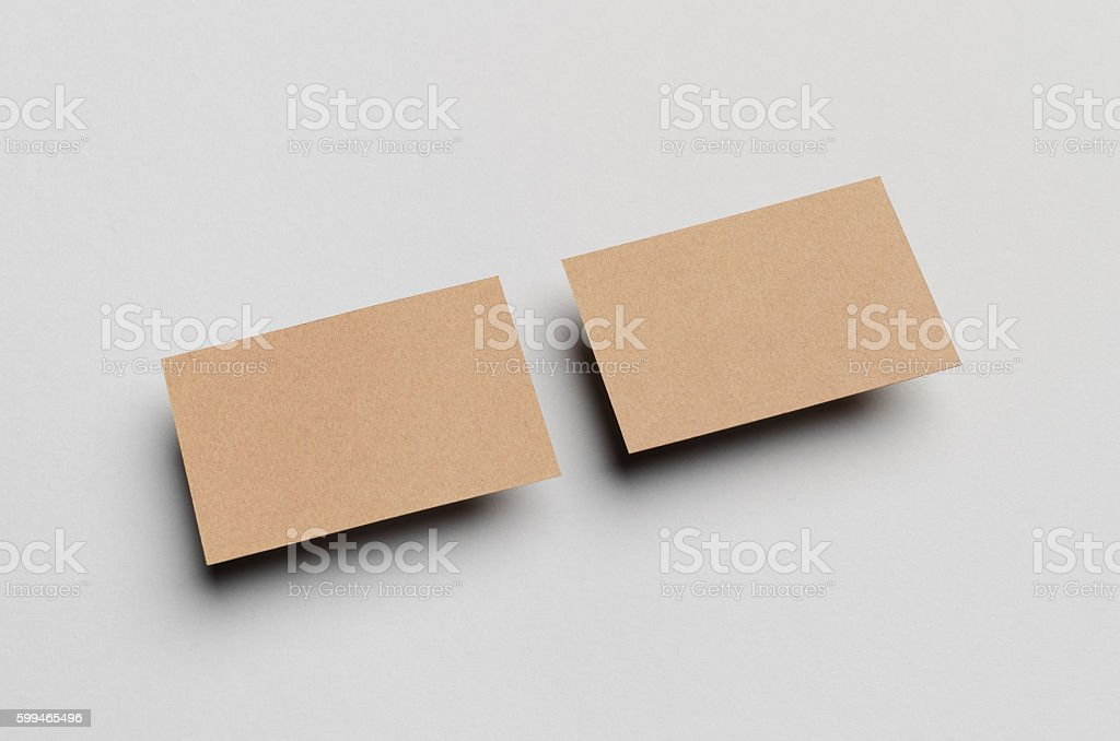 Kraft Business Card Mockup Stock Photo & More Pictures of Blank | iStock