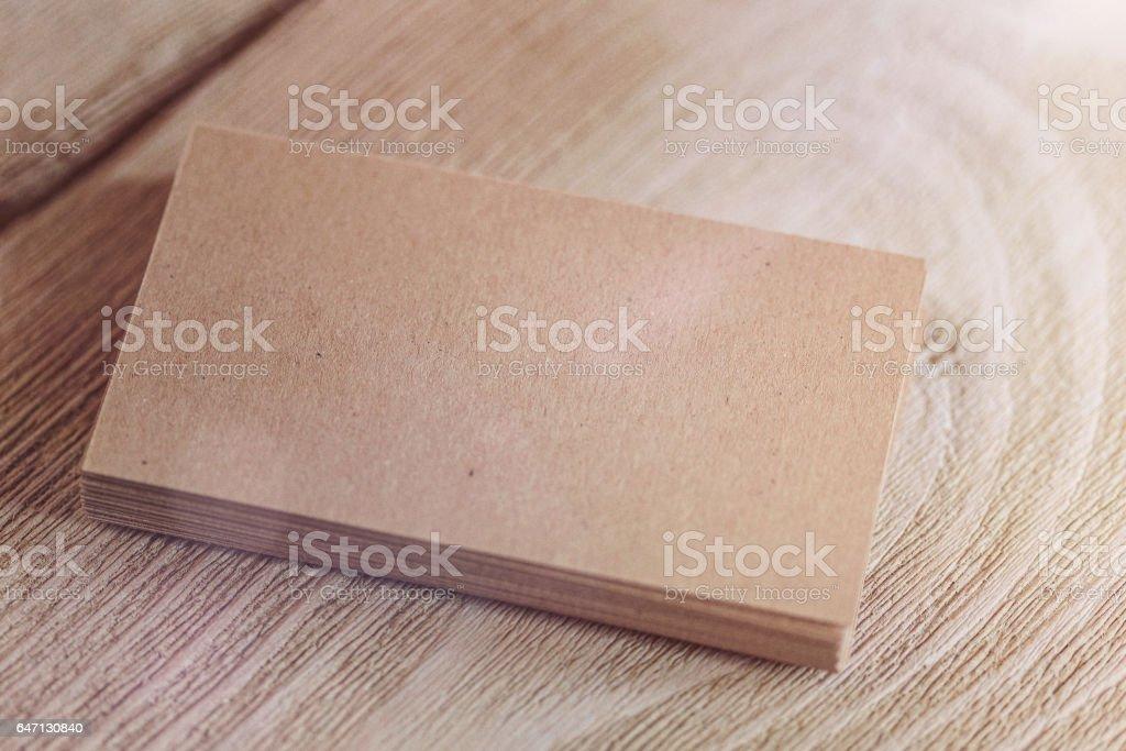 Kraft paper business card template stock photo