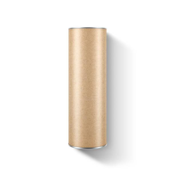 크 래 프 트 종이 흰색 배경에 튜브 tin can 이랑 포장 - 원기둥 뉴스 사진 이미지