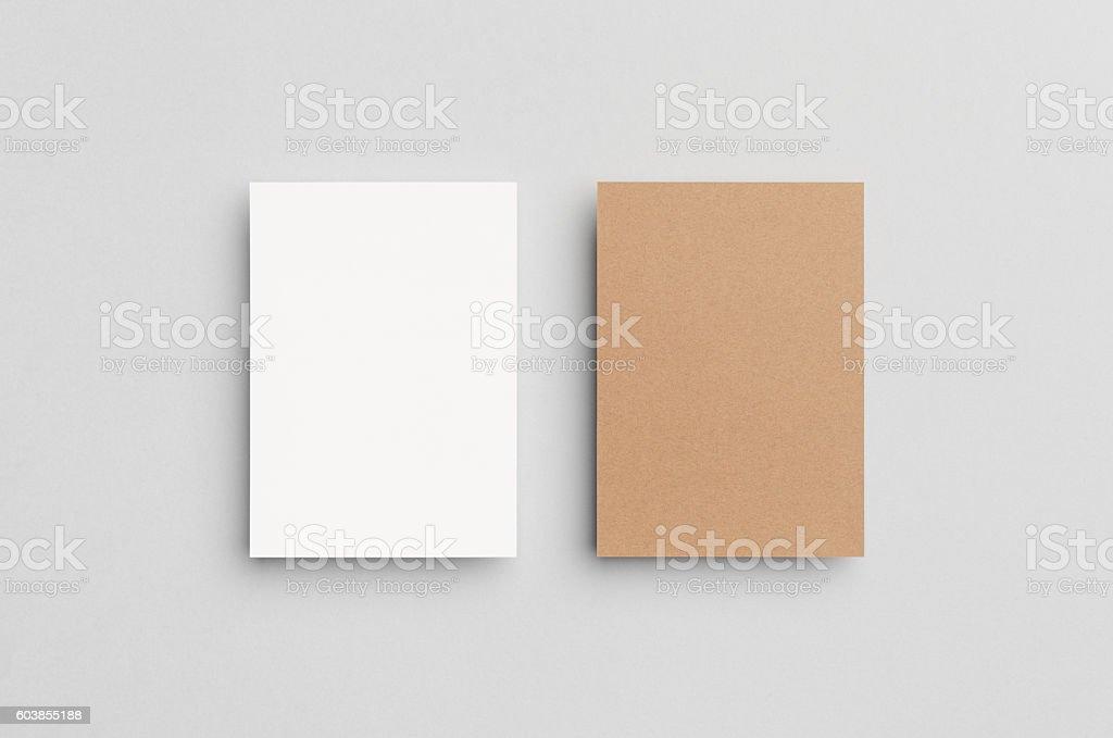 Kraft & White A6 Flyer / Postcard / Invitation Mock-Up stock photo