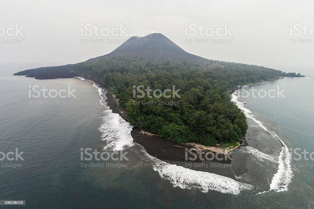 Krakatau Volcano - aerial view royalty-free stock photo