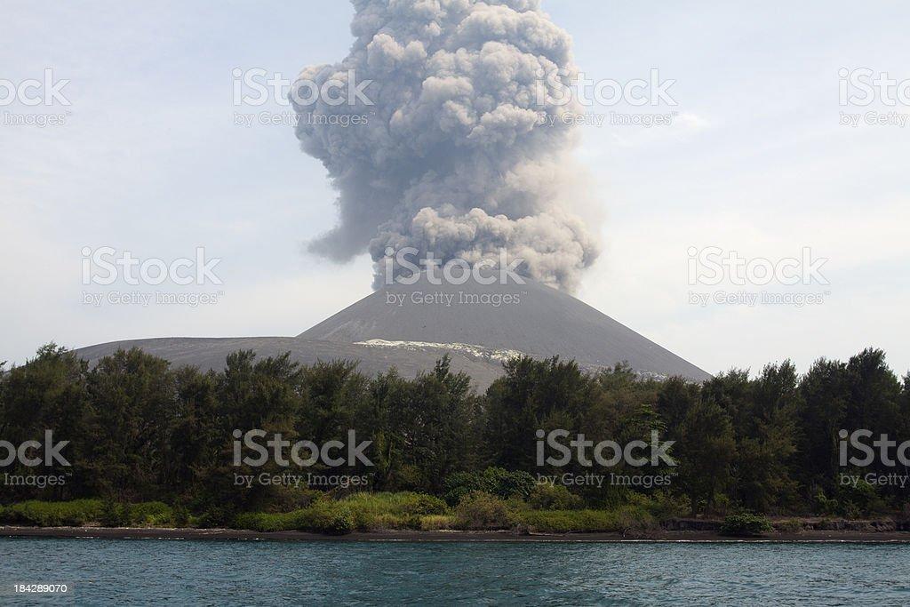 Krakatau volcano eruption stock photo