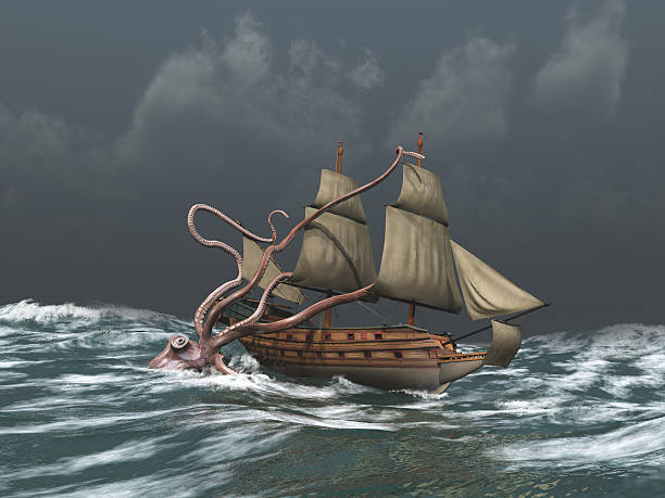 Kraken attacking an ancient ship stock photo