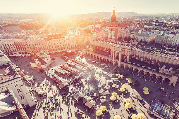 krakow from above - poland stock photos and pictures