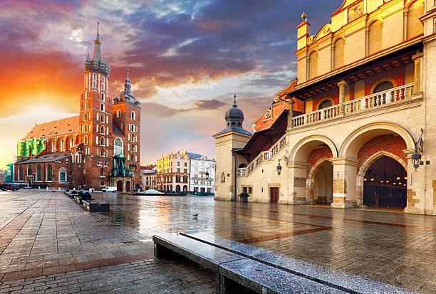 krakow market square, poland - poland stock photos and pictures