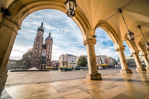 Krakow Market Square taken from Cloth Hall, Poland stock photo