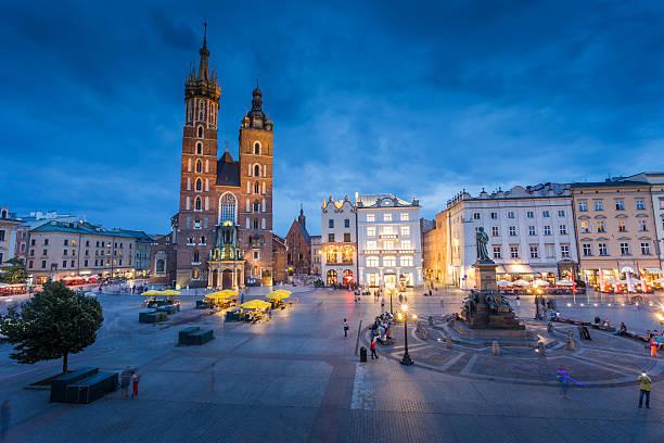 Krakow ,old town of Krakow in Poland  at night stock photo