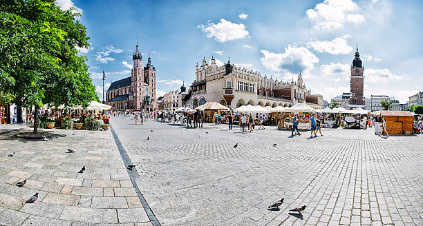 Krakow Main Market square of Krakow town square stock pictures, royalty-free photos & images