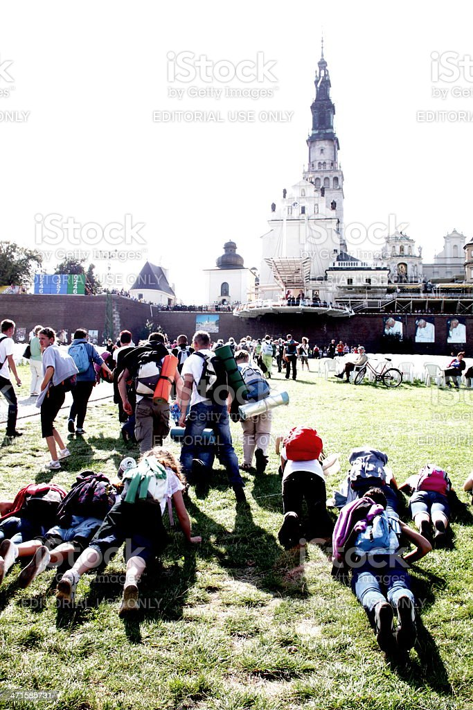 krakow pilgrimage to jasna gora sanctuary royalty-free stock photo