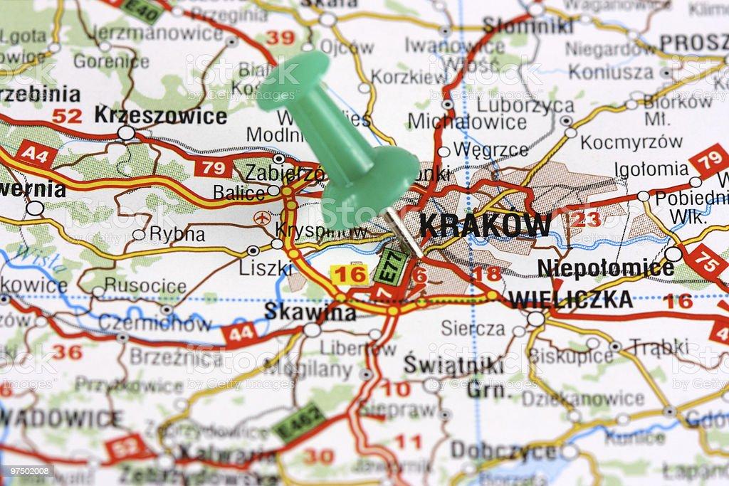 Krakow pinned on map royalty-free stock photo