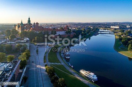 istock Krakow, Poland. Aerial skyline at sunrise 1300504991