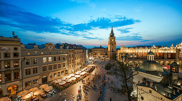 Krakow, Poland at night stock photo