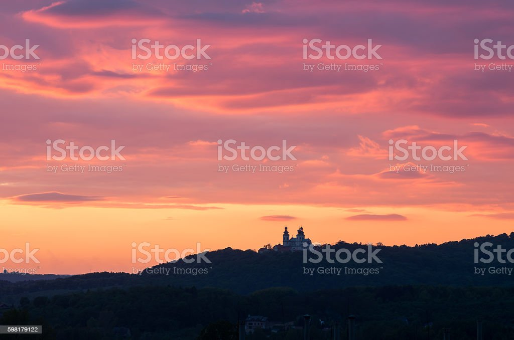 Krakow, Poland, camaldolese monastery at sunset foto royalty-free
