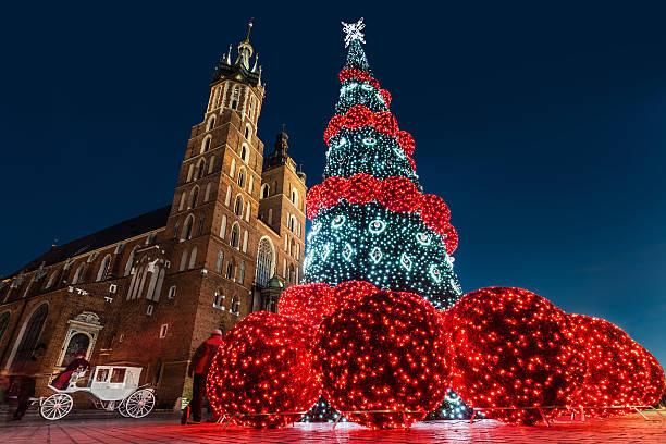 Krakow, Poland during Christmas stock photo