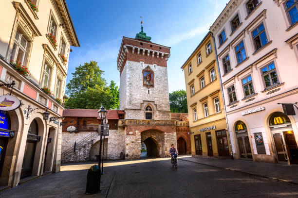 Krakow, Poland Florian's gate, street Florianska stock photo