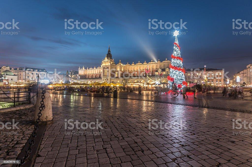 Krakow, Poland, Main Market square during Christmas stock photo