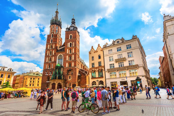 Krakow, Poland main market square stock photo