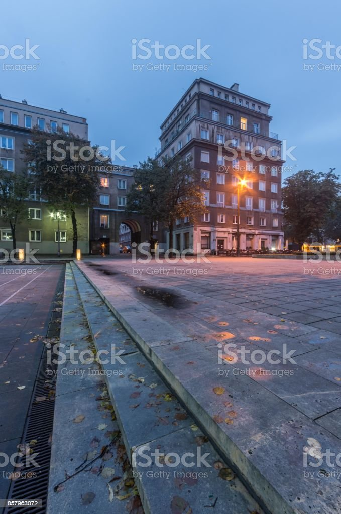 Krakow, Poland, Nowa Huta district built during communist rule, Aleja Roz (Rose Alley) street stock photo