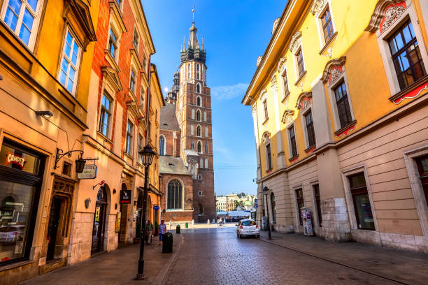Krakow, Poland shopping street Florianska stock photo
