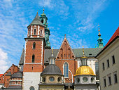 Krakow, Poland. Wawel royal castle. View of the Cathedral church of St. Wenceslas and St. Stanislaus. The castle is one of the famous places in the city. It is UNESCO World Heritage Site.