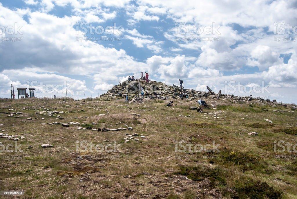 Kralicky Sneznik (Snieznik) hill summit on czech - polish borders stock photo