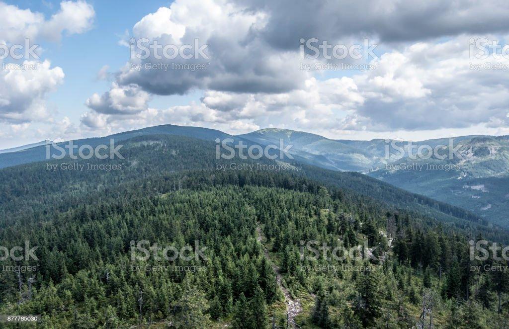 Kralicky Sneznik (Snieznik) mountain range scenery stock photo