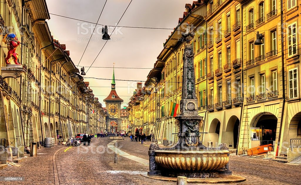 Kramgasse street in the Old City of Bern, UNESCO site stock photo