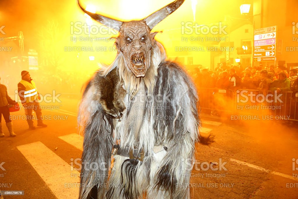 Krampus characters parade, on St Nicholas' day in Castelrotto, Italy stock photo