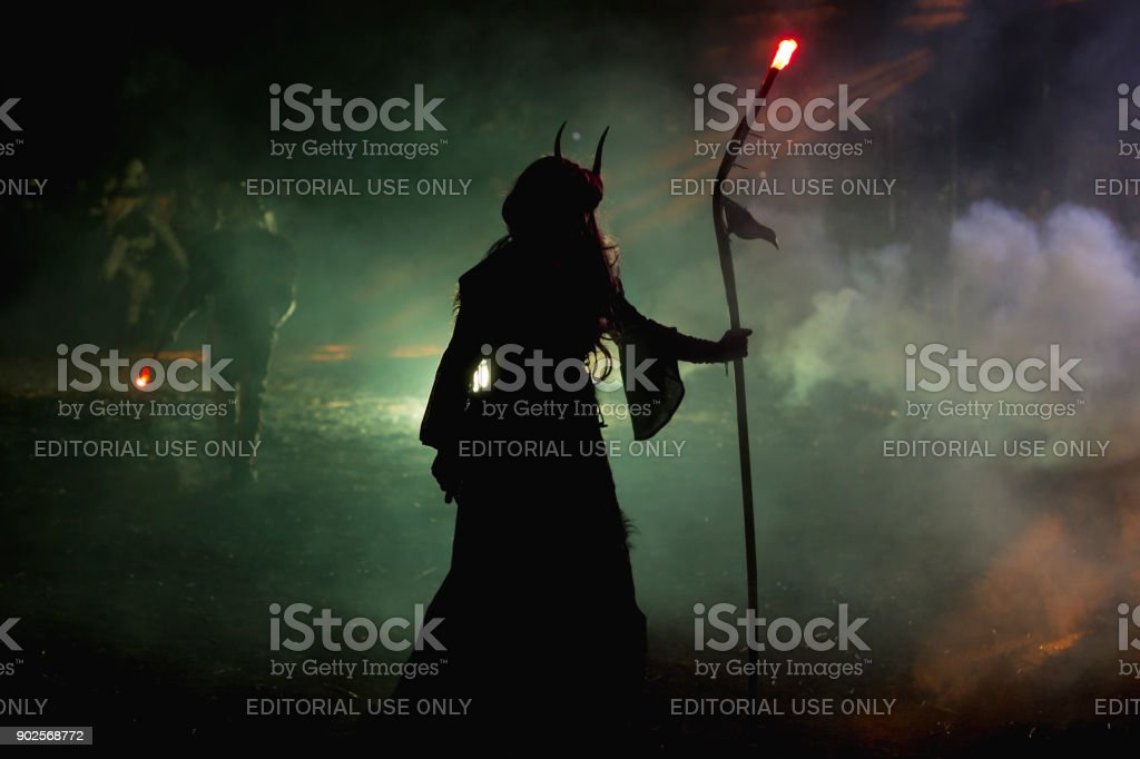 Krampus characters parade stock photo