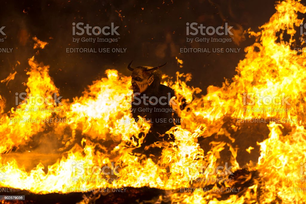Krampus fire stock photo