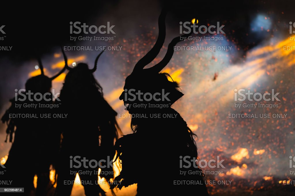 Krampus show stock photo