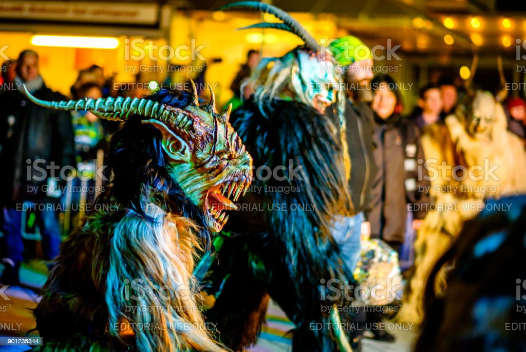 krampuslauf in heimstetten - bavaria stock photo